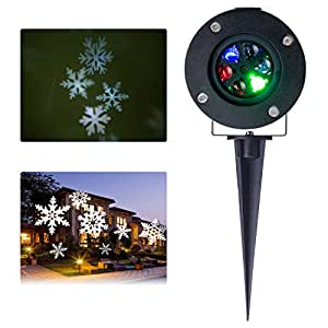 Lightess Christmas Projector Light Moving White Snowflake LED Landscape Projection Spotlight Outdoor/Indoor Decor Lamp, Cold White