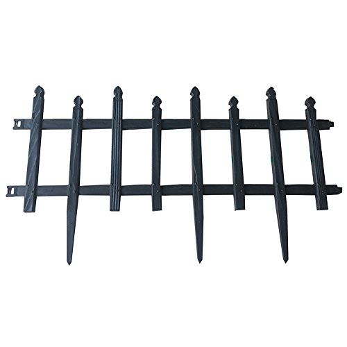 ABBA ECO Border Fencing Eco-Friendly Weatherproof Plastic Resin Garden Edging Section-6 Pack 24.4 inch x 13 inch, - Garden Edging Fencing