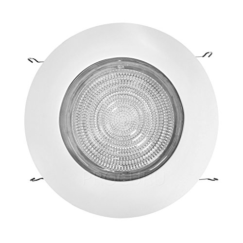 PROCURU 6'' Fresnel Glass Lens with White Metal Shower Trim - for Wet Locations - for 6'' Recessed Can Lights - UL Listed (White-Fresnel (1-Pack)) by PROCURU (Image #1)'