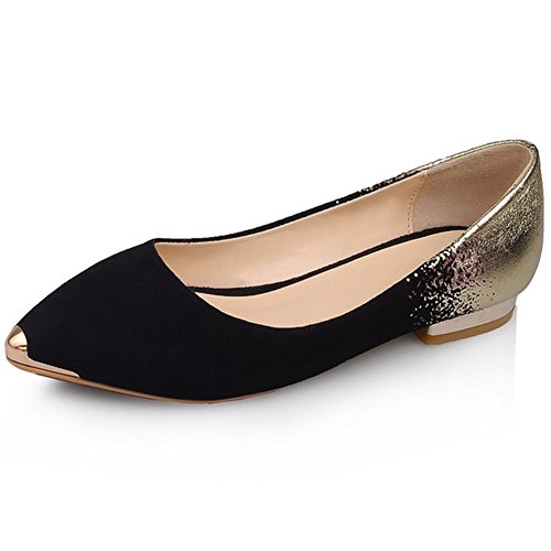 Women's Casual Nubuck Gradient Blasting Cracks Pointed Toe Flats Loafers Shoes