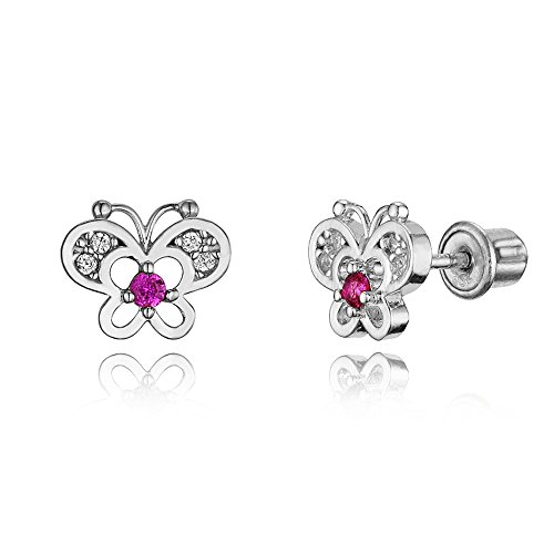 925 Sterling Silver Rhodium Plated Red Butterfly Cubic Zirconia Screwback Baby Girls (Baby Cubic Zirconia Earrings)