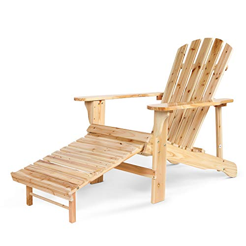 VV Outdoor Adirondack Chair Natural Wood with Pull Out Ottaman for Garden, Patio, Yard, Deck(Varnish)
