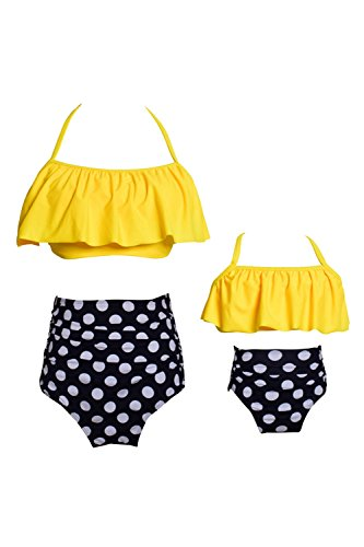 - WIWIQS Women Two Piece Off Shoulder Ruffled Flounce Bikini Top with Print Cut Out Bottoms(Yellow and DOT,116)