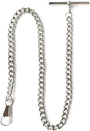 Desperado Silver Chrome Albert Vest Pocket Watch Chain with T bar 3910-W