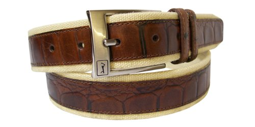 PGA TOUR Men's Canvas And Leather Casual Belt,Brown,40