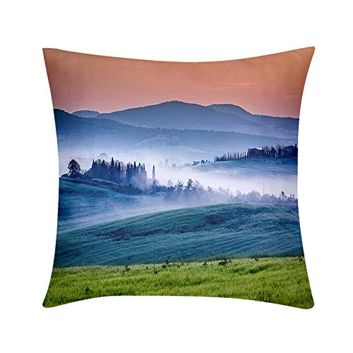 HooMore Double Sided Digital Printing Personalized Custom Throw Pillow Farm of Olive Groves and Vineyards in Foggy Sunrise Design for Sofa Bedroom Office Car Decorate Pillow