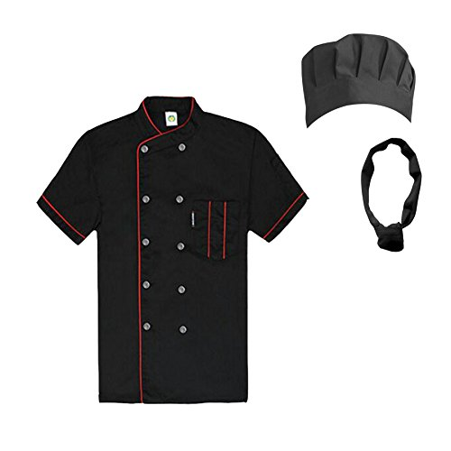 TopTie Unisex Short Sleeve Cooking Chef Coat Jacket & Hat & Bandana Set-Black with red-L by TopTie