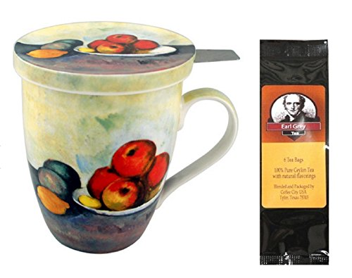 Paul Cezanne Still Life with Apple, Infuser and Lid in Gift Box and 6 Tea Bags, Bundle 2 Items (Cezanne Still Life Apples)
