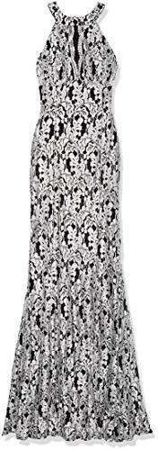 - Nightway Women's Lace Scallop Keyhole Racer Trupet Skirt Missy, WHT/BLK, Size 12