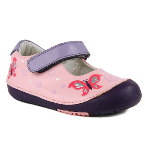 Momo Baby Girls First Walker/Toddler Butterfly Mary Jane Leather Shoes