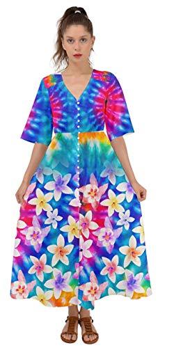 CowCow Womens Rainbow Vintage Lily Tie Dye Kimono Sleeve Boho Dress - 3XL (Lily Kimono Sleeve Dress)