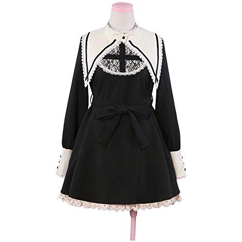 Japanese Harajuku Girl Costume (Japanese Harajuku Gothic Lolita Dress Girls Nun Sister Anime Cosplay Party Dress)