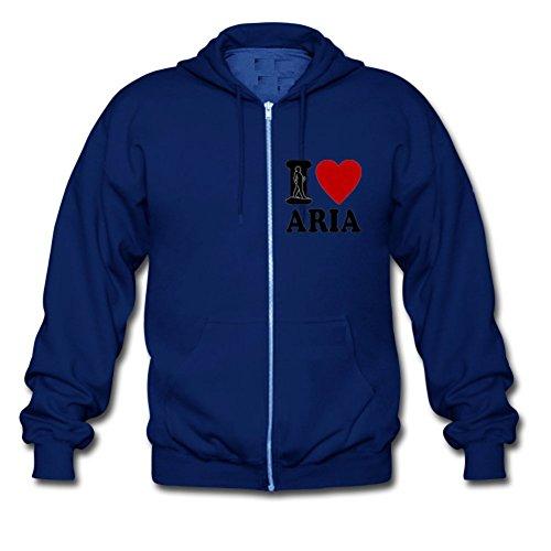 I Love Aria Heart Custom Men's Hoody Zip Hoodie Sweatshirt Jacket Medium Blue Large