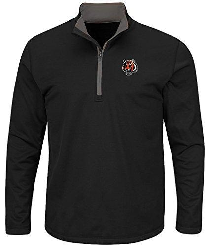 Cincinnati Bengals NFL Mens Majestic Therma Base 1/4 Zip Fleece Black Big & Tall Sizes (3XL) ()