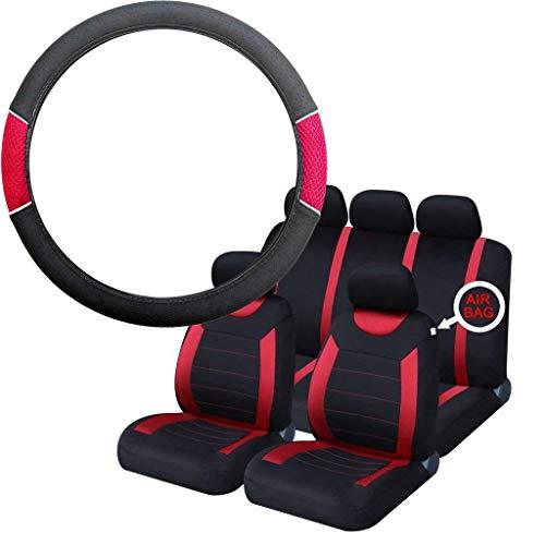 UKB4C Red & Black Steering Wheel & Seat Cover set for Saab 9-3 93 All Models: