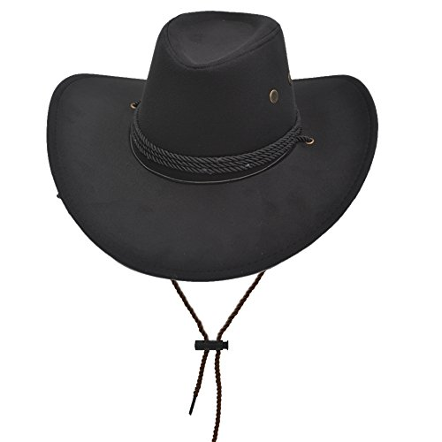 Yosang Adult Western Suede Hat Cowboy Outdoorsman Hat Travelling Summer Cap Black
