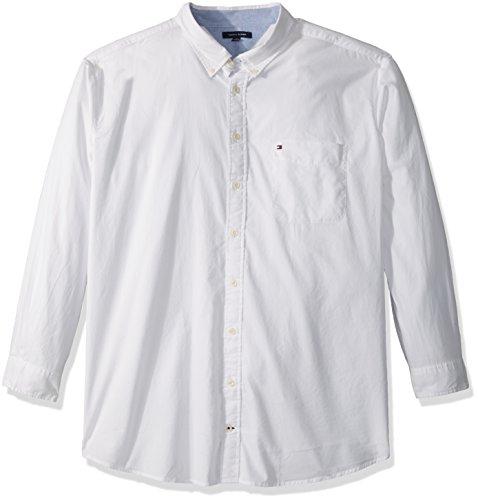 Tommy Hilfiger Button Shirt (Tommy Hilfiger Men's Tall capote Long Sleeve Shirt, White, 3XL Big)