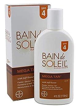 Bain de Soleil Mega Tan Sunscreen Lotion With Self Tanner, SPF 4 – 4 Oz pack of 3