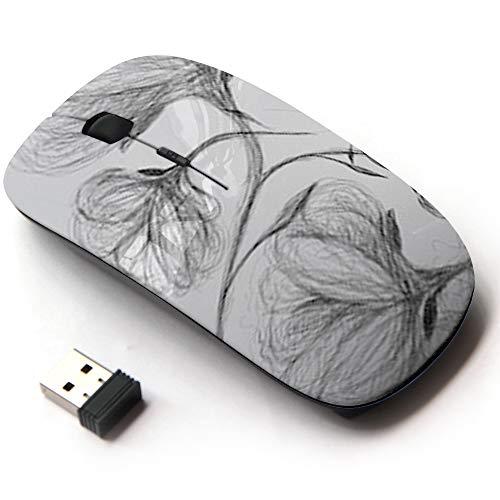 (Ergonomic Optical 2.4G Wireless Mouse - Wild Dog Rose Blackandwhite)