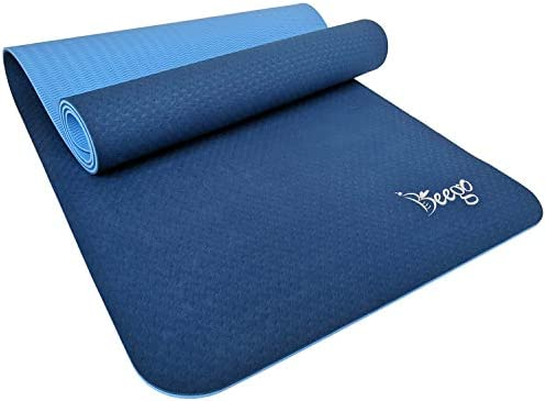 Beego Yoga Mat-Eco Friendly TPE Non Slip Yoga Mat Workout Mat for All Type of Yoga,Pilates and Floor Exercises Classic 1 4 inch Thick Fitness Exercise Mat with Carrying Strap