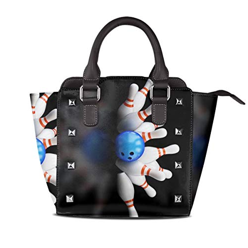 Womens Leather Rivet Tote Handbag Bowling Ball Vintage for sale  Delivered anywhere in USA