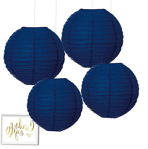 (Gatton Hanging Paper Lantern Party Decor Kit with Free Party Sign, Navy Blue, 4-Pack, Bridal Shower ding Birthday Nautical Ocean Decorations | Model WDDNG - 1799 |)