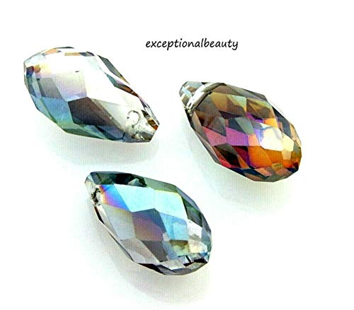 10 Briolette Celestial Green AB Crystal Faceted 17mm Tapered Teardrop Drop Beads ()