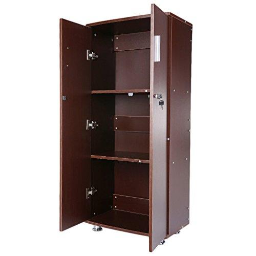 Hifeel - Archivadores Modernos con Cerradura, 3 estantes, armarios de Almacenamiento, Armario de Madera para casa y Oficina, Color Rojo Oscuro: Amazon.es: ...