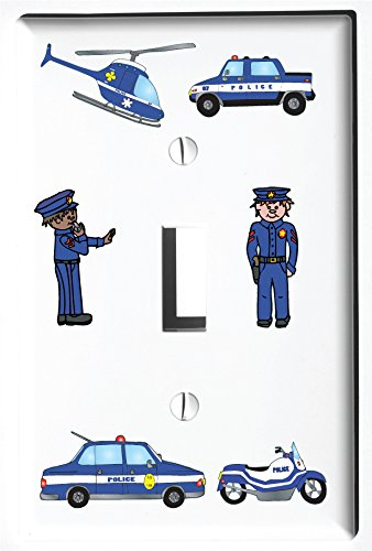 Police Light Switch Plate and Outlet Covers/Police Children's Room Wall Decor (Single Toggle Cover)