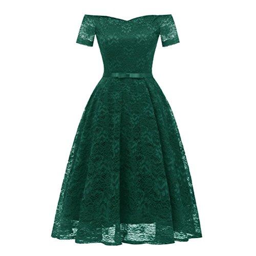 Women Dress, Vintage Floral Lace Off Shoulder Party Valentine's Day Green