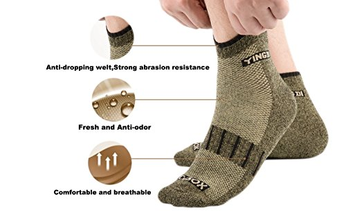 YingDi Copper Socks Moisture Wicking Anti-microbial Ankle Sport Socks Size L Green With Black Welt Pack of 4 pairs by yingDi (Image #2)