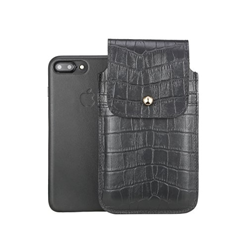 Blacksmith-Labs Barrett Mezzano 2017 Premium Genuine Leather Swivel Belt Clip Holster for Apple iPhone 7 Plus for use with Apple Leather Case - Black Croc Embossed Cowhide/Gold Belt Clip by Blacksmith-Labs (Image #2)