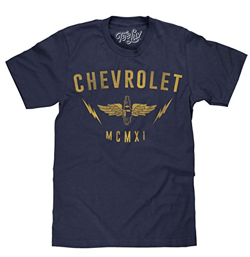 Tee Luv Chevrolet MCMXI Licensed T-shirt Medium,Navy Heather