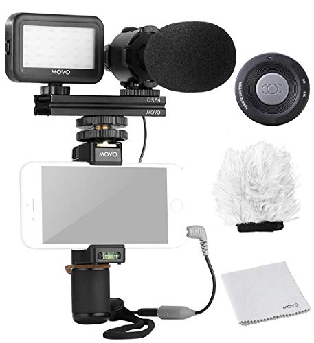Movo Smartphone Video Rig Kit V7 with Grip Rig, Pro Stereo Microphone, LED Light and Wireless Remote - YouTube Equipment for iPhone 5, 5C, 5S, 6, 6S, 7, 8, X, XS, XS Max, Samsung Galaxy, Note and More (Best Microphone For Filmmaking)