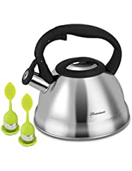 Tea Kettle Homeinart 2.1 Quart Stainless Steel Teakettles 2.0L Whistling Teapot - Induction Gas Stovetop for Fast Water Heating Tea Maker, 2 Infuser Included