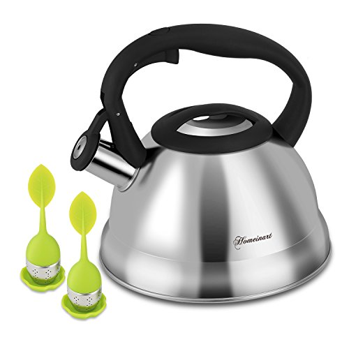 Tea Kettle with Infuser Homeinart 2.1 Quart Stainless Steel Teakettles 2.0L Whistling Teapot - Induction Gas Stovetop for Fast Water Heating Tea Maker by Homeinart