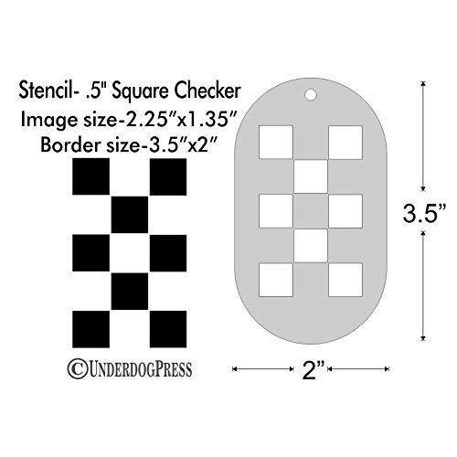 Half Inch Square Checker 2.25x1.35 Inch Image on 3.5x2 Border Size 1 Stencil