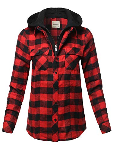 - Awesome21 Casual Hooded Flannel Plaid Shirt Black Red Size M