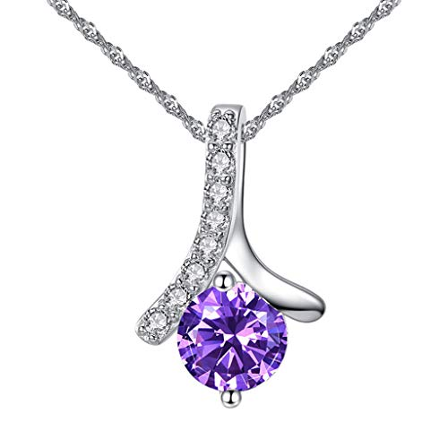 NIHAI Herringbone Pendant Micro-Inlay Necklace for Women Girl- Sweetheart Zircon Pendant Jewelry for Romantic Valentine's Day Birthdays Gift (Purple)