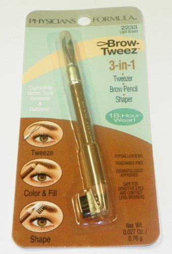 Physicians Formula Brow-tweeze 3-in-1 (Tweezer/Pencil/Shaper), Light Brown, 0.027 Ounce