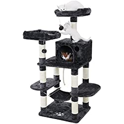 FEANDREA Cat Tree Condo with Scratching Posts Kitty Tower Furniture Pet Play House Bed Grey UPCT85G