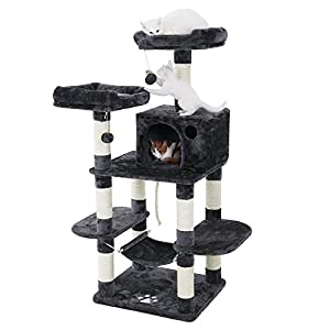 FEANDREA Multi-Level Cat Tree for Big Cats, Stable Cat Tower, Gray UPCT85G