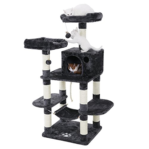 FEANDREA Cat Tree Condo with Scratching Posts Kitty Tower Furniture Pet Play House Bed Grey UPCT85G ()