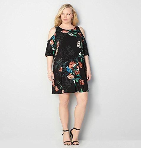 AVENUE-Womens-Antique-Floral-Cold-Shoulder-Dress