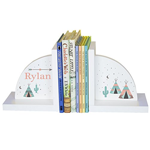 MyBambino Children's Personalized Teepee Bookends - Coral & - Indian Bookends