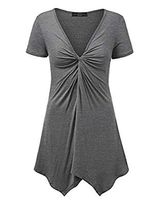 LL Womens Short Sleeve Knot Front Baby Doll Tunic - Made in USA