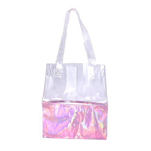 Tinksky Femmes Hologramme Laser Sac à main fourre-tout Transparent PU Sac à main Effacer sac à bandoulière sac cadeau pour les femmes filles (rose)