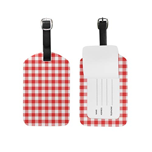 (Auskid Red Gingham Plaid Luggage Tags Travel ID Labels Tag For Baggage Suitcases 1 Piece)