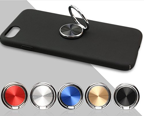 [Ring for Phone]Phone Ring Holder 360 Rotation For Cell Phone-Custom Metal Finger Ring Phone Stand Kickstand Grip Ultra thin Fit well with Magnetic Car Hook Mount for iPhone,Samsung,Htc, etc (Black)