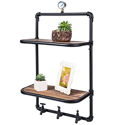 2 Tier Industrial Style Wood & Metal Wall Mounted Shelves with 3 Faucet Design Hooks (Tiered Wall Shelves)